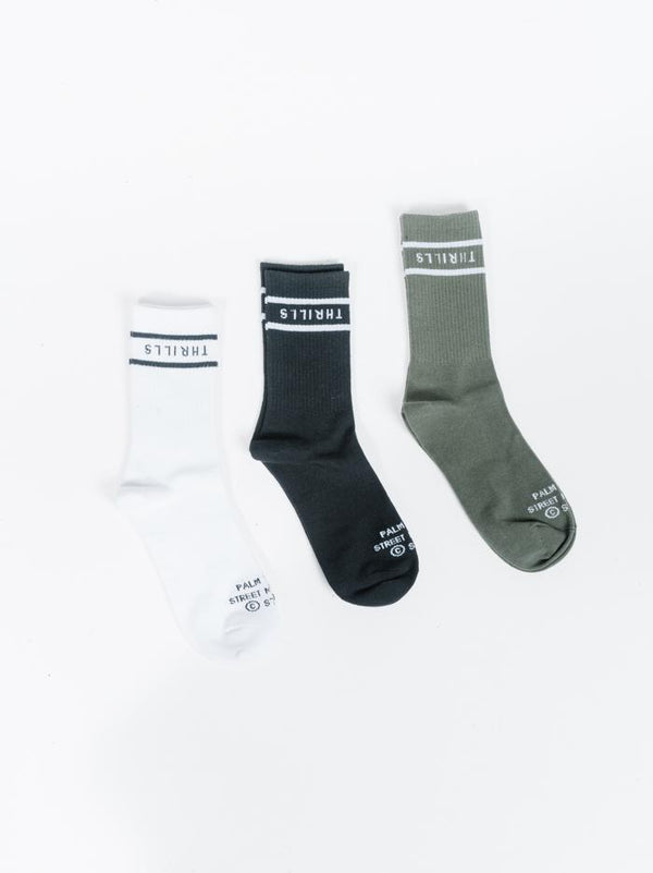 Minimal Thrills 3 Pack Sock - Lume Green-Black-White