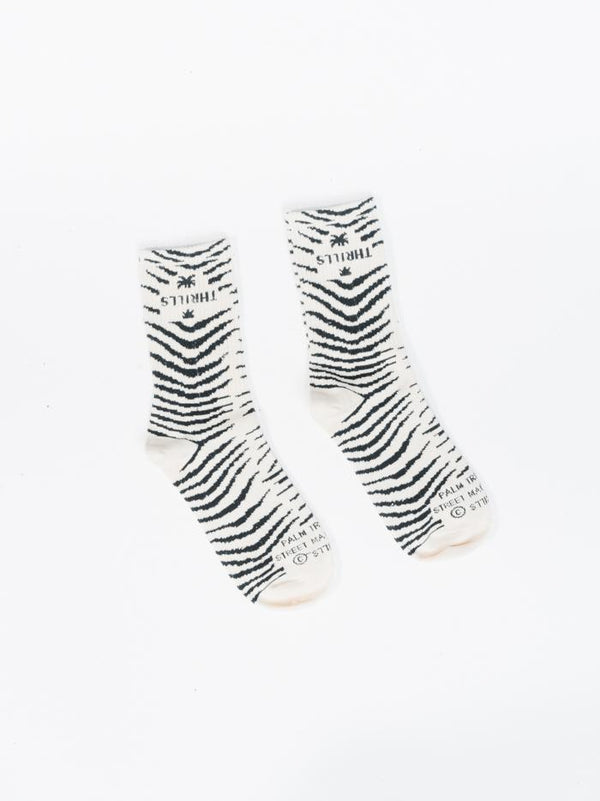 Zebra Lounge Sock - Thrift White