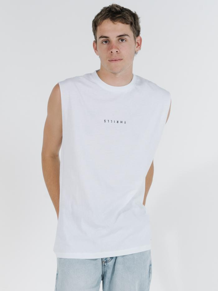 Minimal Thrills Merch Fit Muscle Tee - White