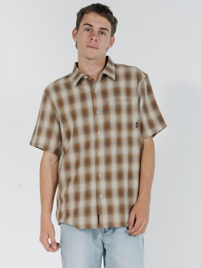Angel Check Short Sleeve Shirt - Brown
