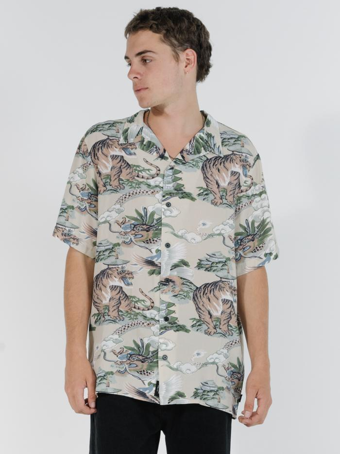 Tiger Vs Falcon Bowling Shirt - Tan