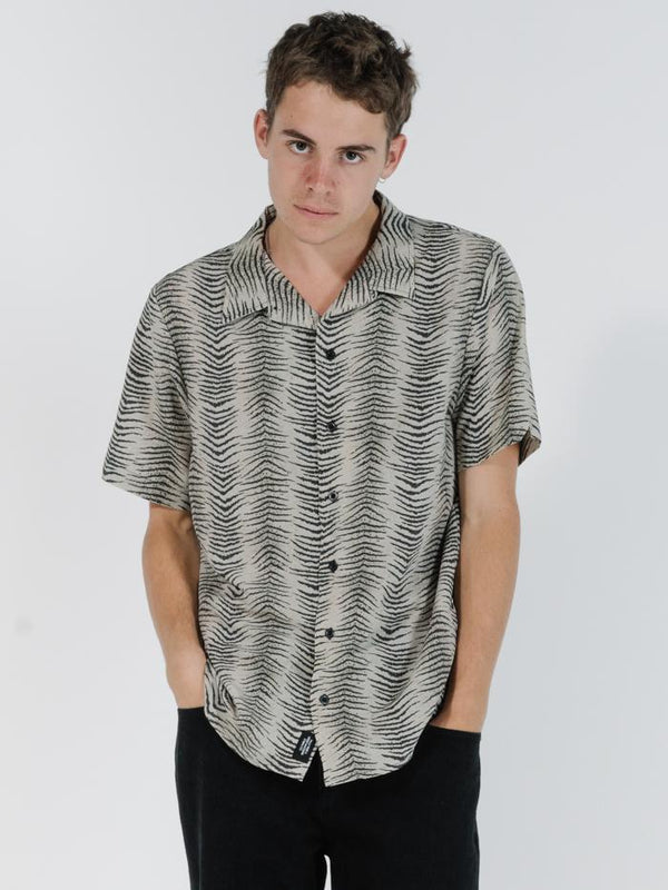 Zebra Lounge Bowling Shirt - Thrift White