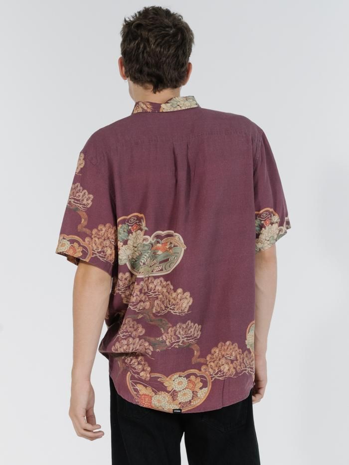 Facet Short Sleeve Shirt - Red Wine