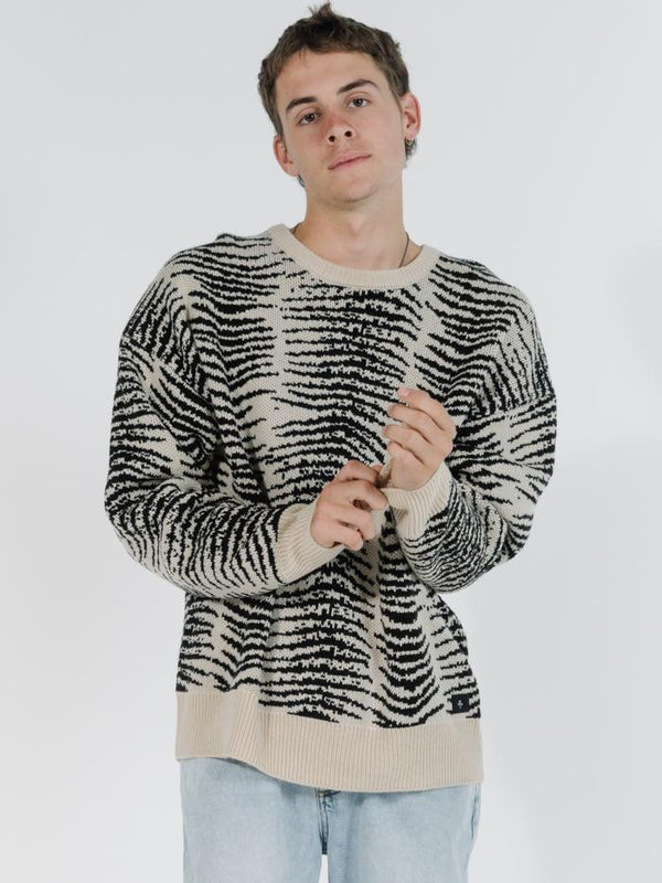 Zebra Lounge Crew Knit - Thrift White
