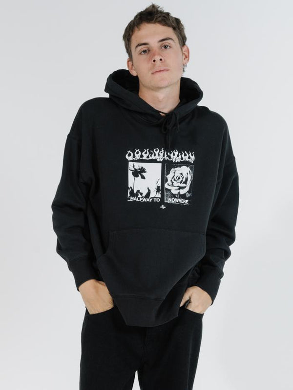 Flaming Moe Slouch Pull On Hood - Black