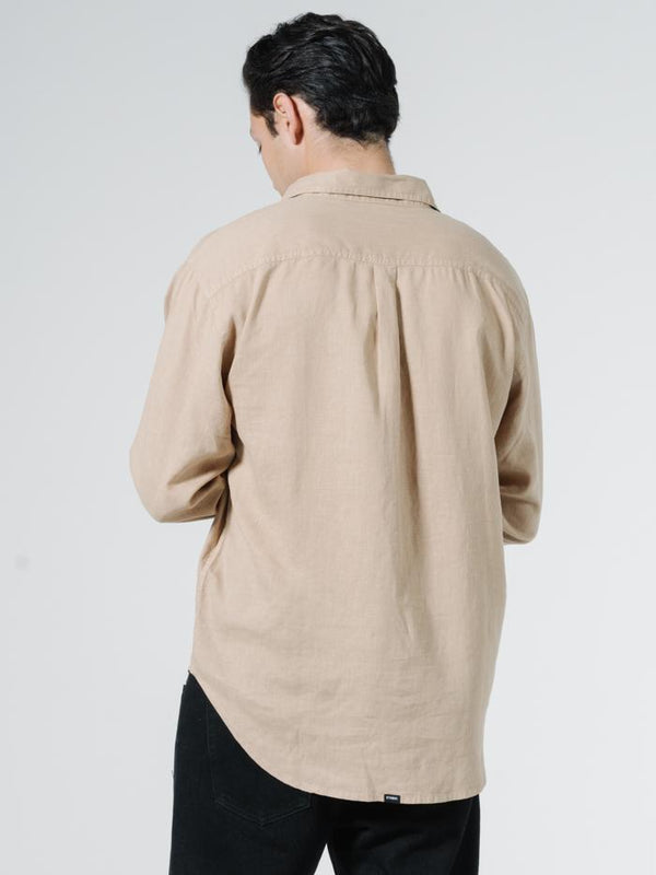 Minimal Thrills Oversized Long Sleeve Shirt - Washed Tan