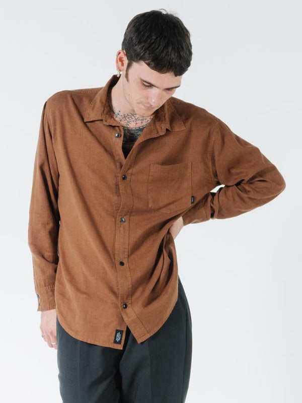 Minimal Thrills Oversized Long Sleeve Shirt - Bison