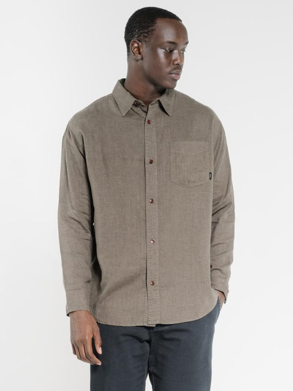 Minimal Thrills Oversized Long Sleeve Shirt - Military Green