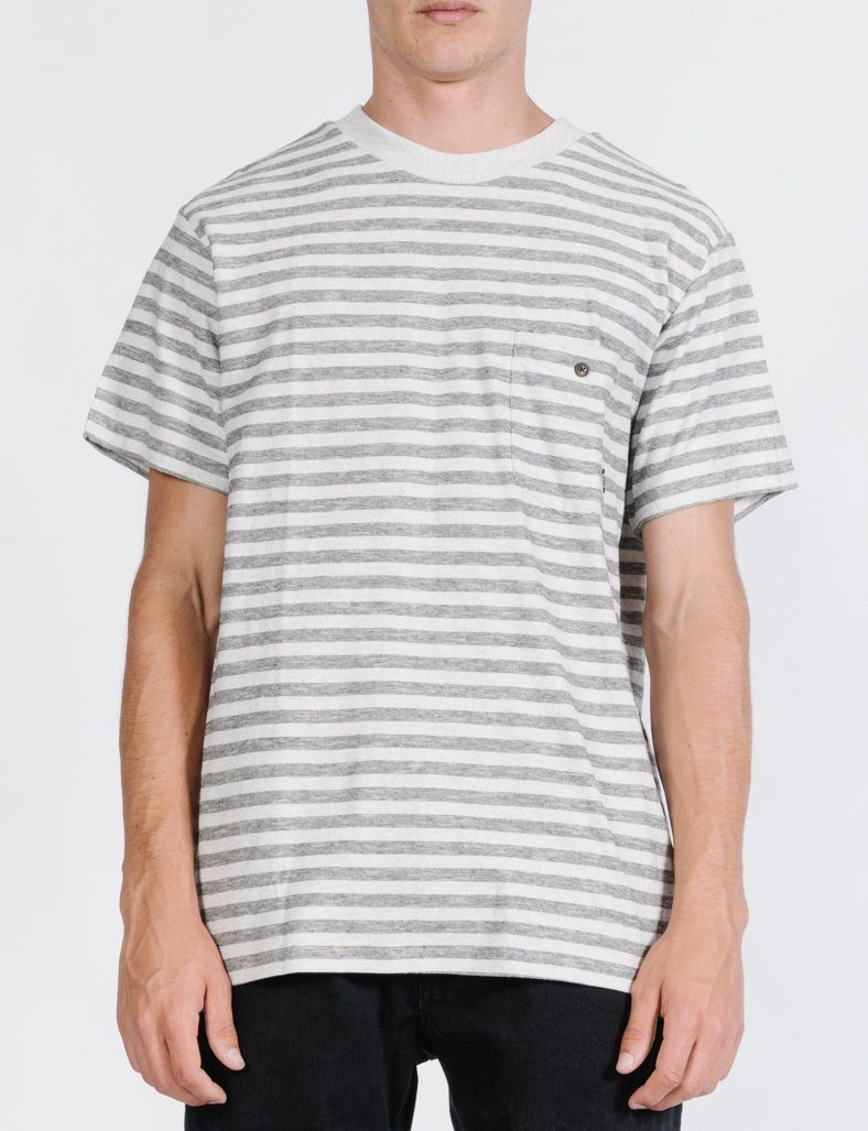 Cauzed Stripe Merch Fit Tee - Tan