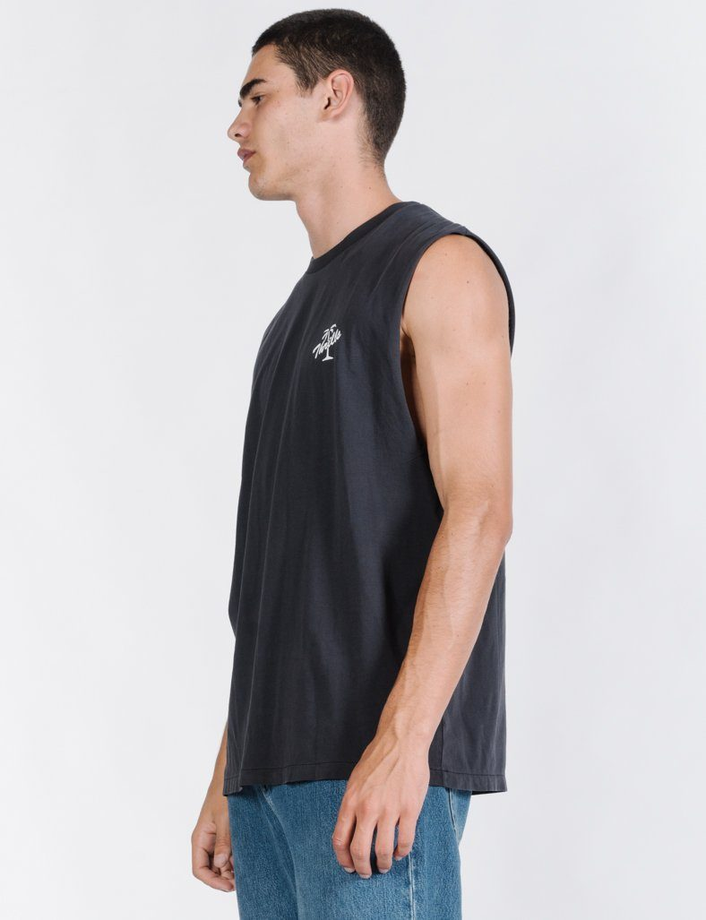 Scrolling Palm Merch Fit Muscle Tee - Heritage Black