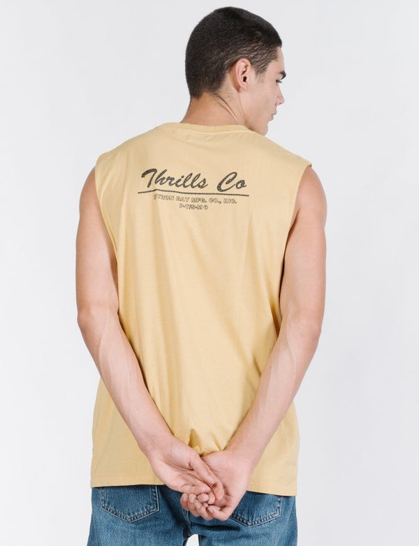 Scrolling Palm Merch Fit Muscle Tee - Heritage Yellow