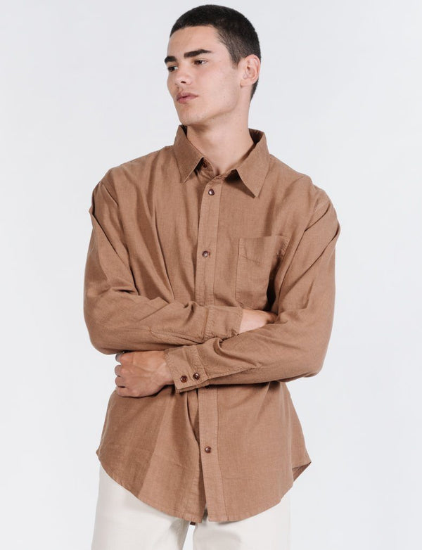 Minimal Thrills Oversized Long Sleeve Shirt - Bronze