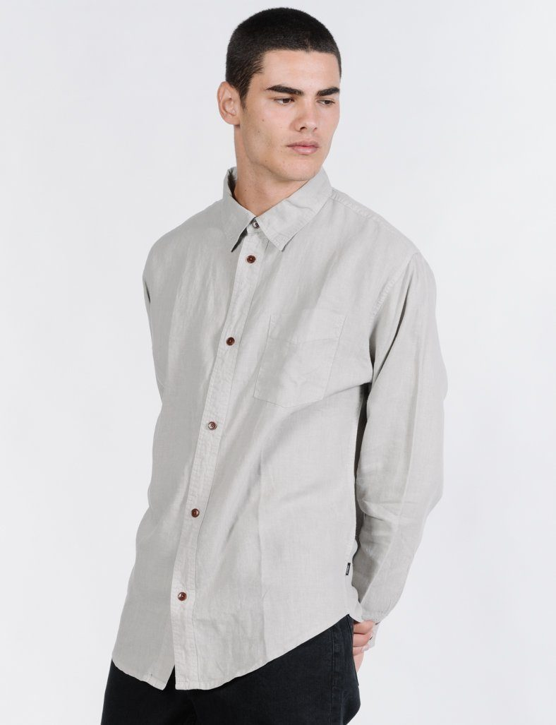 Minimal Thrills Oversized Long Sleeve Shirt - Clay