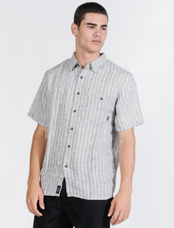 Cauzed Stripe Short Sleeve Shirt - Tan
