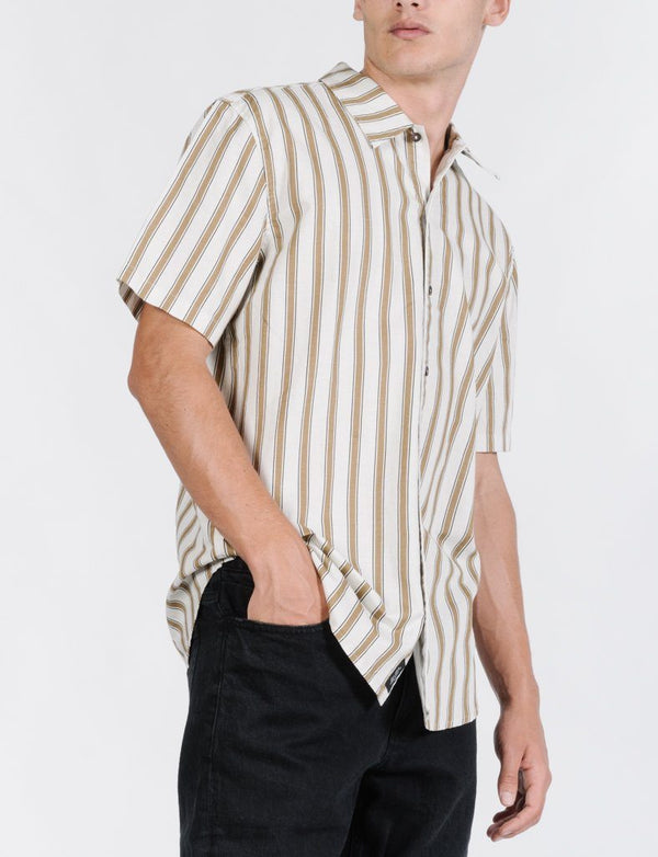 Commune Stripe Short Sleeve Shirt - Cement