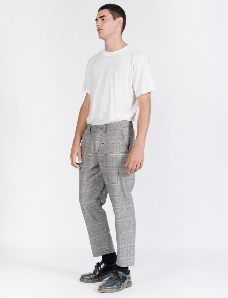 Camden Check Chopped Chino - Stone