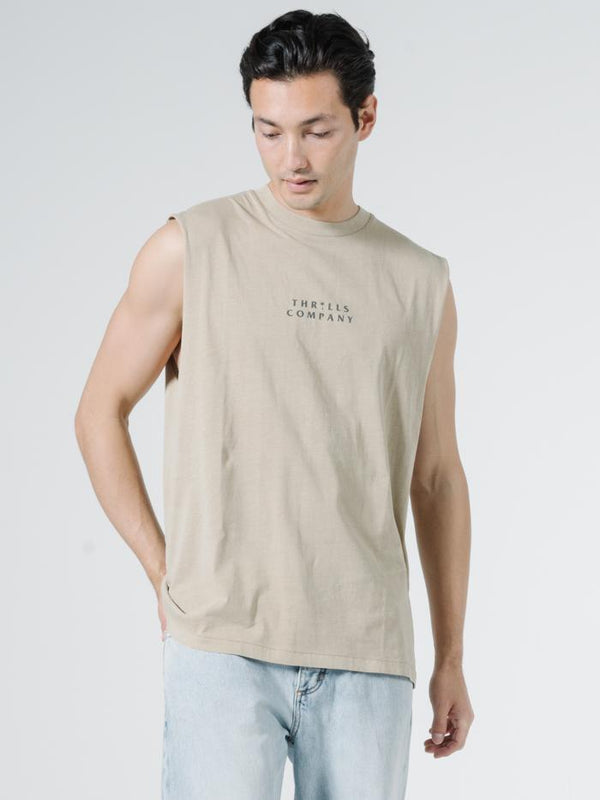 Palmed Thrills Company Merch Fit Muscle Tee - Washed Tan
