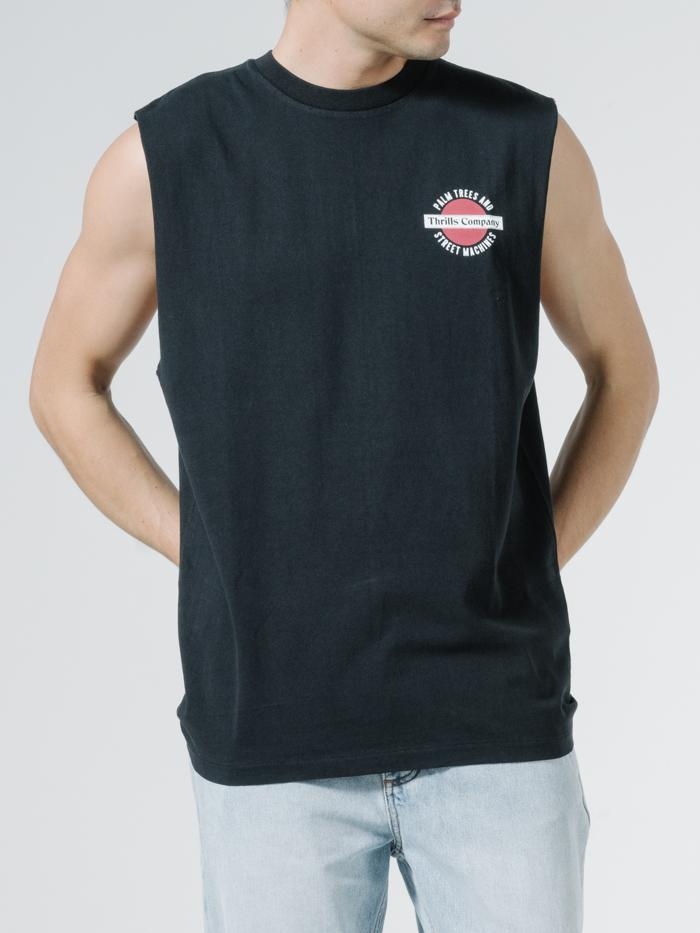 Thrills Rising Merch Fit Muscle Tee - Black
