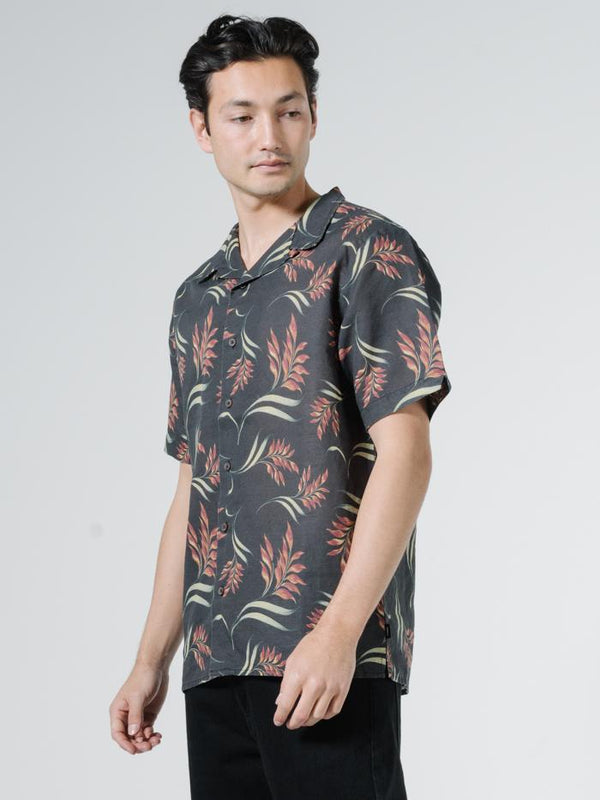 Tropical Solitude Bowling Shirt - Black