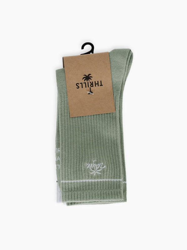 Spirit Of Thrills Sock 3 Pack - Alfalfa / Black / White