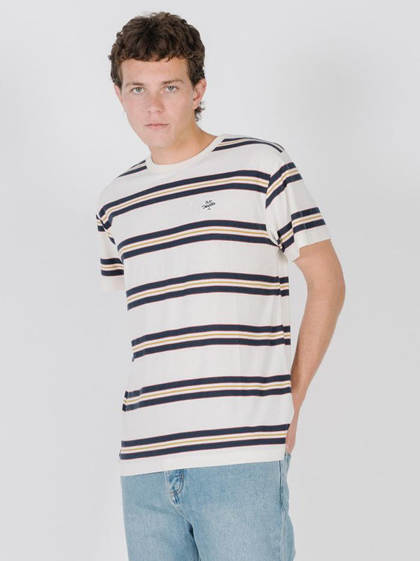 Thrills Design Stripe Merch Fit Tee - Egret