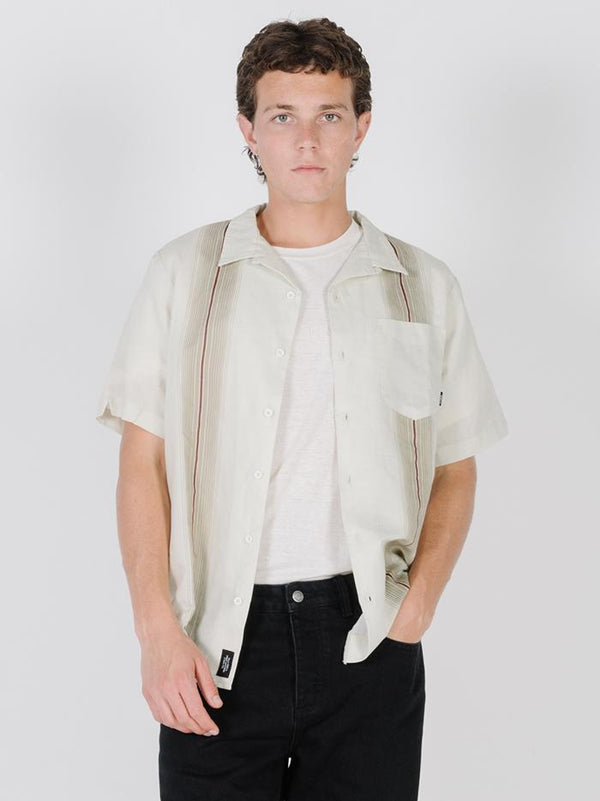 Horizon Stripe Bowling Shirt - Tiki White
