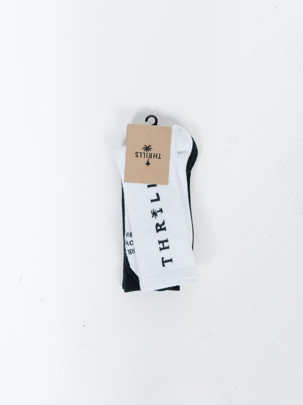 Palmed Thrills Company 2 Pack Sock - Black-White