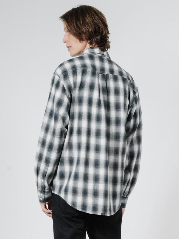 Angel Check Long Sleeve Shirt - Steel Grey