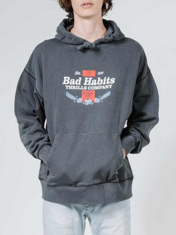 Bad Habits Slouch Pull On Hood - Merch Black