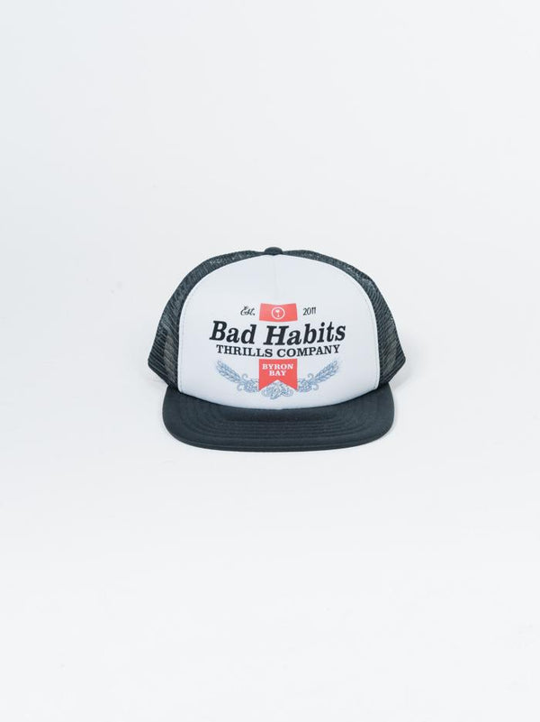 Bad Habits Trucker Cap - White-Black