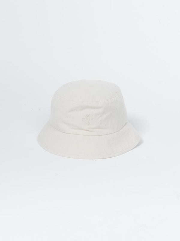 Palm Embro Bucket Hat - Unbleached