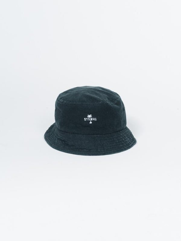 Palm Embro  Bucket Hat - Black