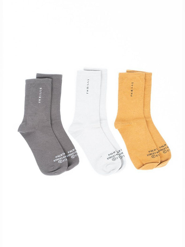 Minimal Thrills Sock 3 Pack - Merch Black/Sunshine Yellow/ Peyote