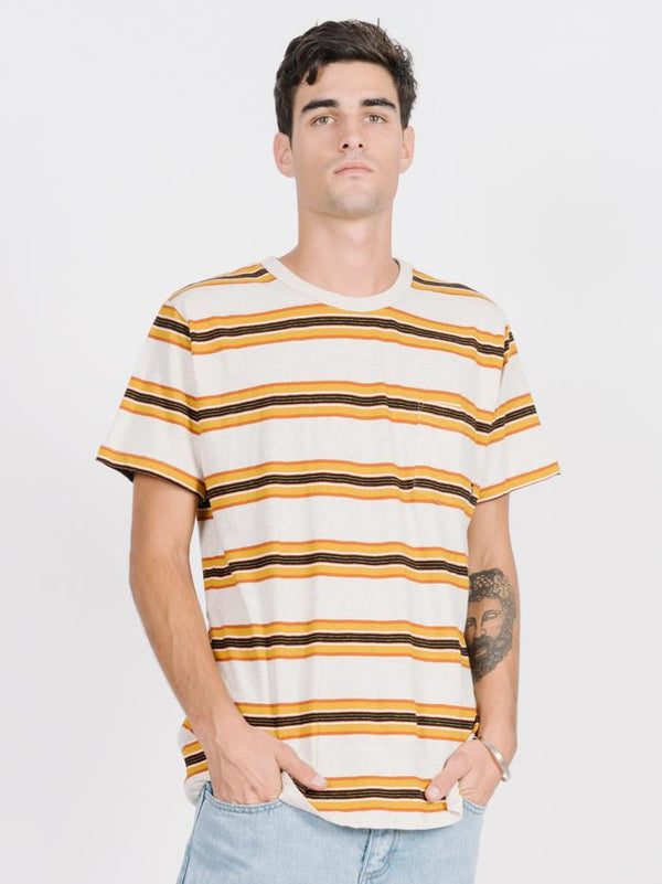 Alley Stripe Merch Fit Tee - Natural