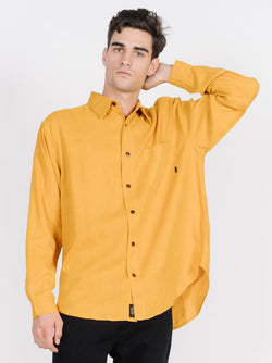 Minimal Thrills Oversize Long Sleeve Shirt - Sunlight Yellow