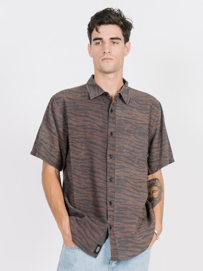 Concrete Jungle Short Sleeve Shirt - Dark Brown