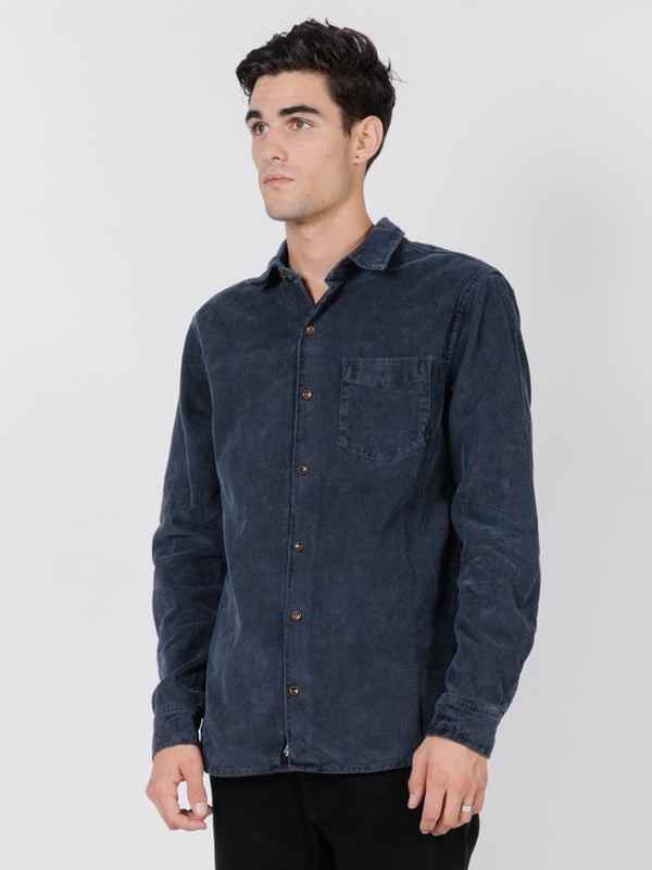 Stranded Long Sleeve Shirt - Washed Navy