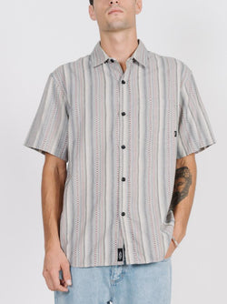 Needles Vertical Stripe Short Sleeve Shirt - Tan
