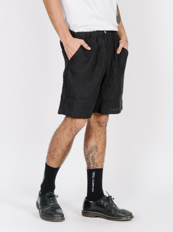 Spirit Of Thrills  Elastic Waist Short - Black