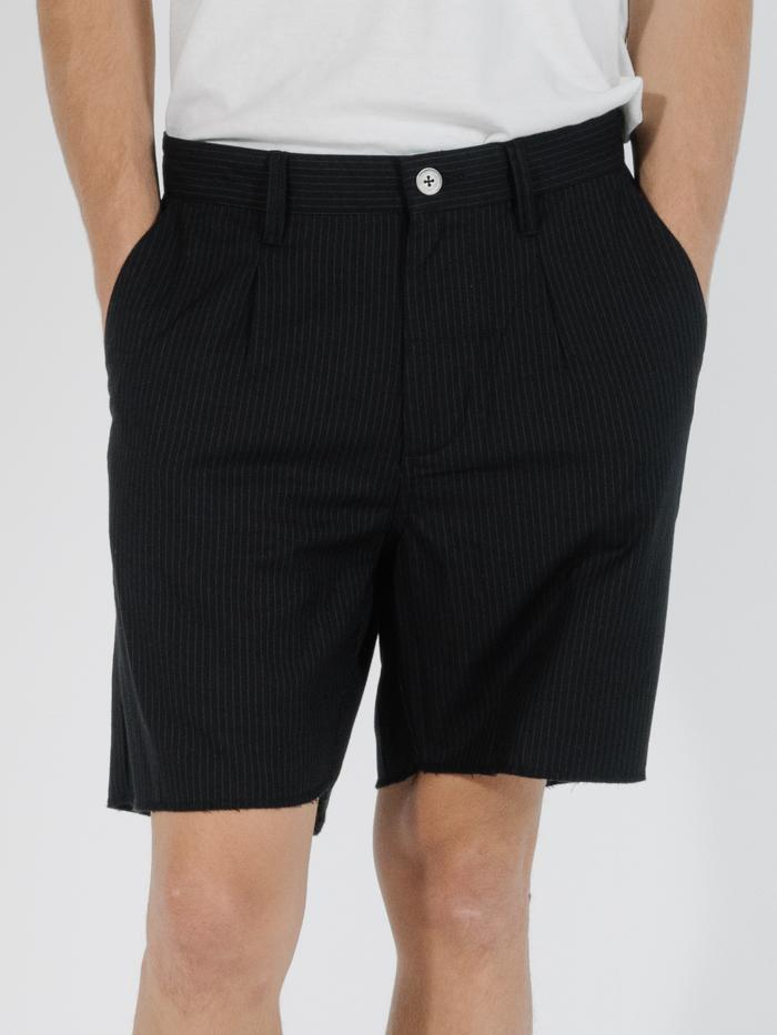 Non Sense Chopped Chino Short - Black with Charcoal Pinstripe