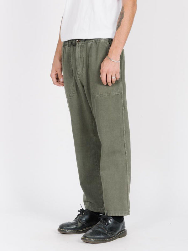 Dril  Chopped Elastic Surf Pant - Army Green