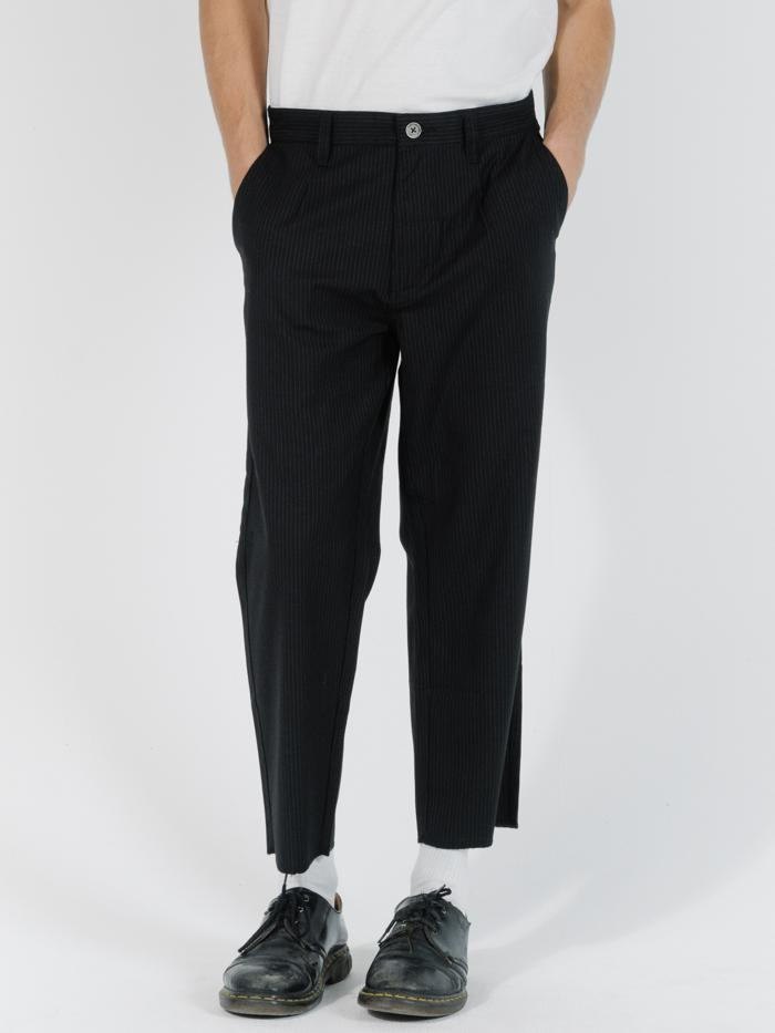 Non Sense Chopped Suiting Pant - Black with Charcoal Pinstripe
