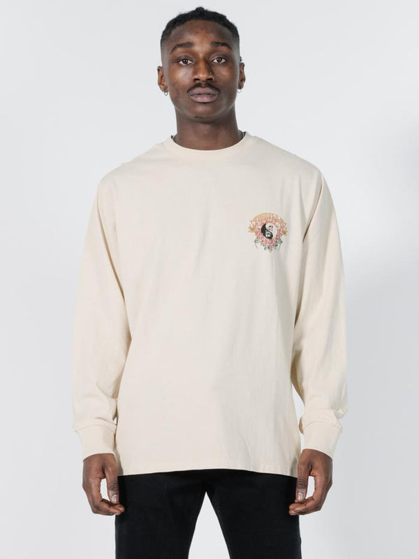 Fire Rose Long Sleeve Merch Fit Tee - Thrift White