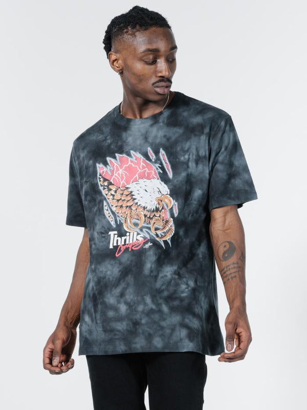 Torn Merch Fit Tee - Oil Spill Black Tie Dye