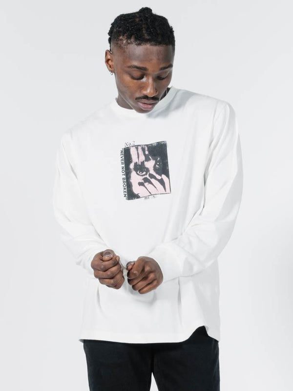 Wide Shut Merch Fit Long Sleeve Tee - Dirty White