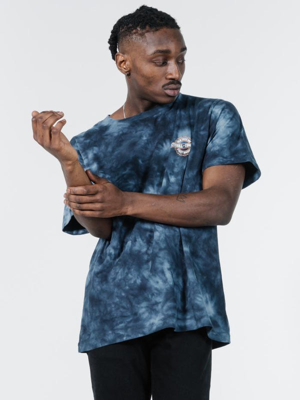 Chained Merch Fit Tee - Midnight Blue Tie Dye