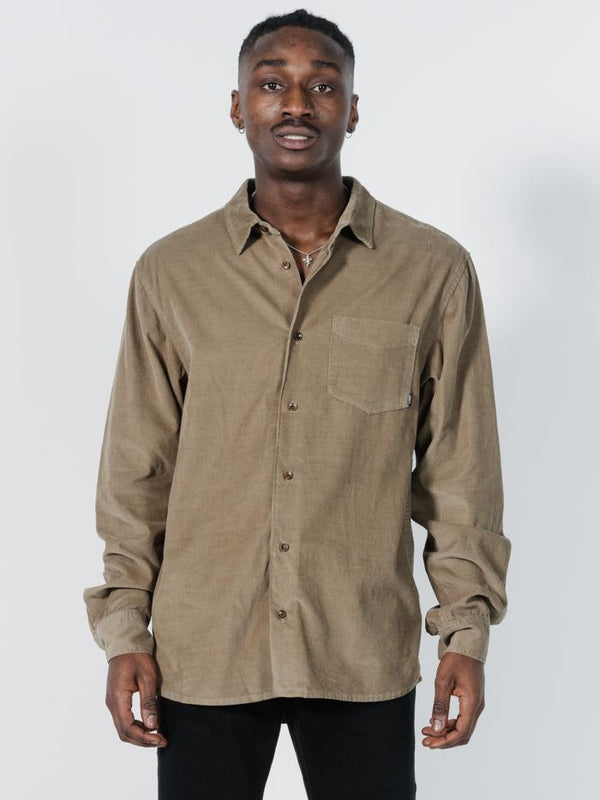 Stranded Cord Long Sleeve Shirt - Wolf