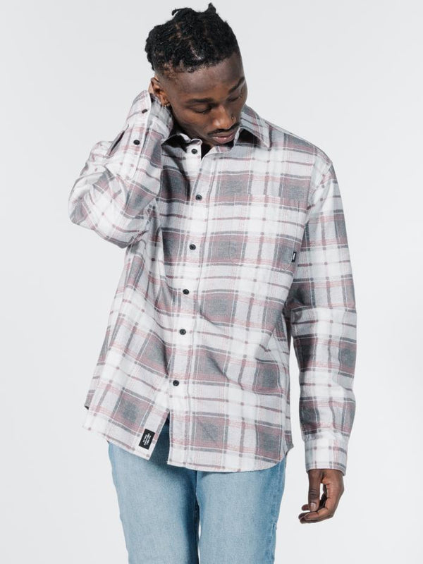 Fire Rose Oversized Long Sleeve Flannel Shirt - Black