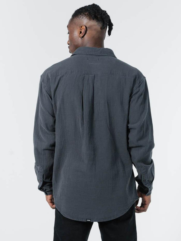 Minimal Thrills Oversized Long Sleeve Shirt - Ebony