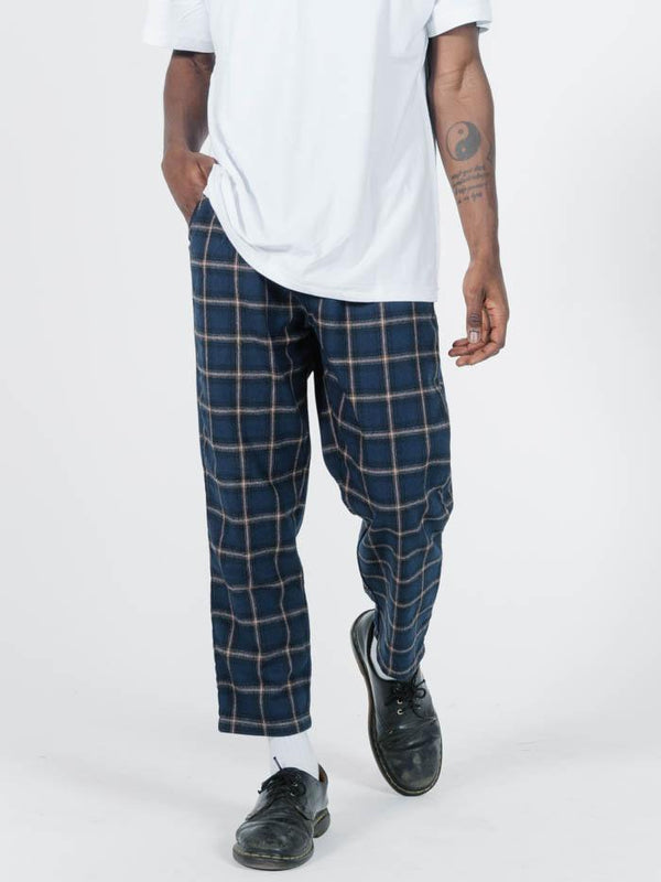 London Chopped Chino - Navy Plaid